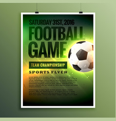 Football game flyer design card invitation vector