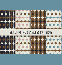geometric seamless pattern set abstract retro vector image