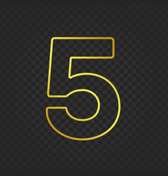 Gold glittering number 5g vector