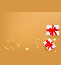 greeting card template with hearts gift boxes and vector image