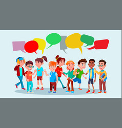 group of pupils school mix race chat vector image
