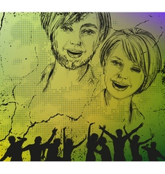 Grunge Sketch Background of People vector