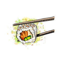 Gunkan sushi with salmon and cucumber from a vector