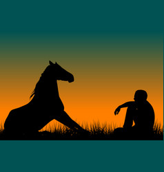 Horse and man silhouettes sitting on grass vector