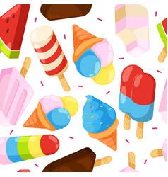 ice cream seamless pattern colored cartoon vector image