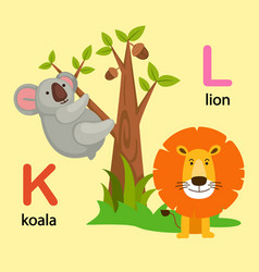 Isolated alphabet letter k-koala l-lion vector