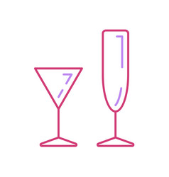 Line wineglass tropical cocktail cup icon set vector