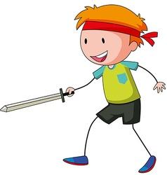 Little boy playing swordfight vector image