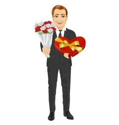 Man holding bouquet of flowers and heart present vector
