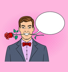 man with rose flower pop art vector image