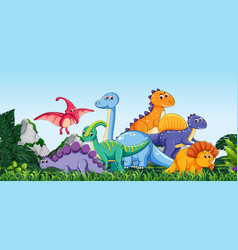 many dinosaur in nature vector image