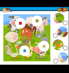 Match pieces puzzle with farm animals vector