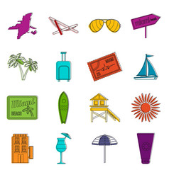 Miami icons doodle set vector