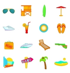 Miami icons set cartoon style vector image