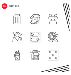 Modern set 9 outlines pictograph toggle vector