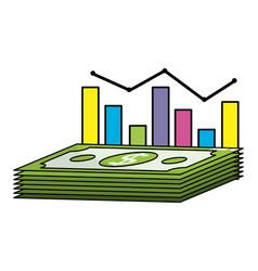 money stadistics cartoon vector image