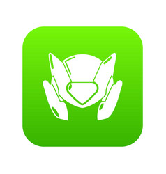 motorcycle helmet design icon green vector image