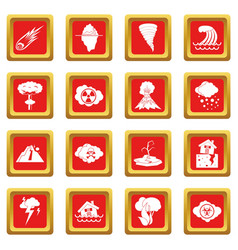 Natural disaster icons set red vector