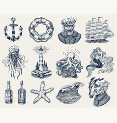 nautical adventure set sea lighthouse mermaid vector image