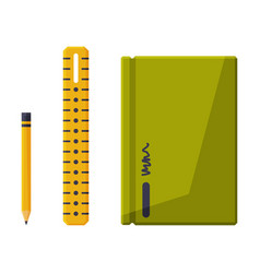 notebook with pencil and ruler stationery vector image