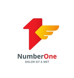 Number one 1 bird wing logo icon design template vector