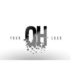 Oh o h pixel letter logo with digital shattered vector