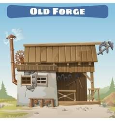 Old forge in the wild West story series card vector image