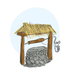 old rustic well for water extraction vector image