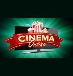 online cinema banner realistic computer vector image