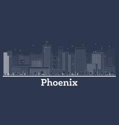 Outline phoenix arizona city skyline with white vector