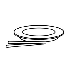 plate and chopsticks food chinese outline vector image