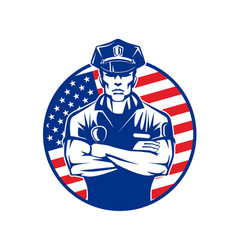 policeman in uniform wearing a cap on the vector image
