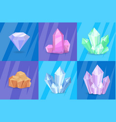 precious stones and minerals vector image