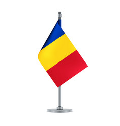 romanian flag hanging on the metallic pole vector image