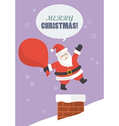 Santa claus with big bag jumping in the chimney vector