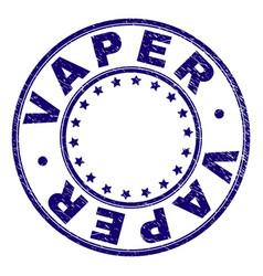 Scratched textured vaper round stamp seal vector