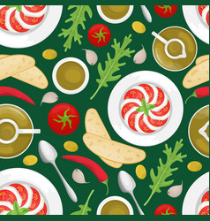 Seamless pattern with italian cuisine vector