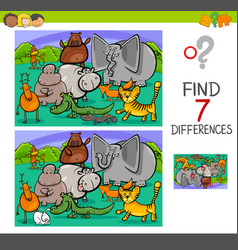 search differences game with animals vector image