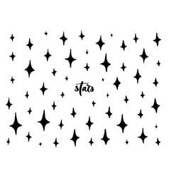 set black hand drawn stars vector image