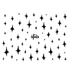 set of black hand drawn stars vector image