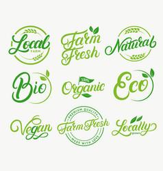 Set of organic local farm farm fresh vector