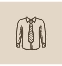 Shirt with tie sketch icon vector image