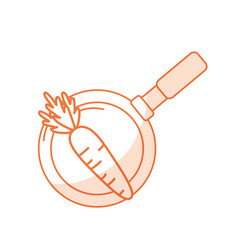 Silhouette carrot vegetable inside skillet pan vector