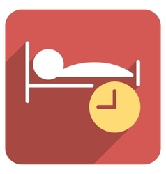 Sleep Time Flat Rounded Square Icon with Long vector