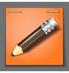 Small pencil on the orange paper sheet background vector image