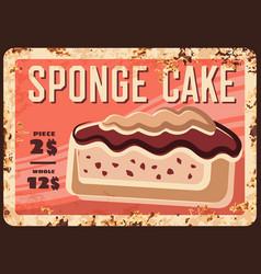 sponge cake dessert rusty metal plate vector image