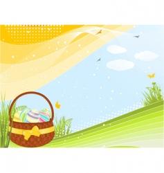 spring Easter basket vector image vector image