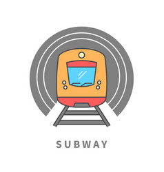 subway train in tunnel vector image