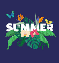 summer tropical composition with tropical leaves vector image