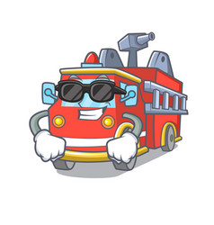 super cool fire truck character cartoon vector image